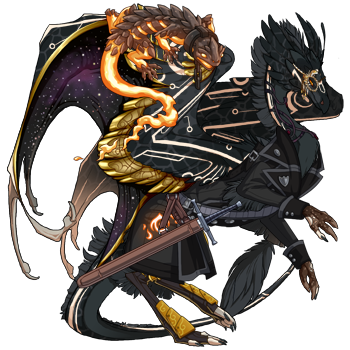 a feathery black dragon with pale orange circuit markings